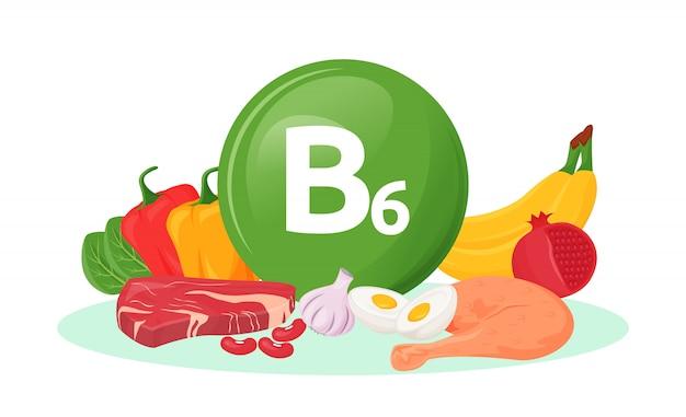 Vitamin food sources cartoon  illustration