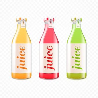 Vitamin fruit juice in glass bottles