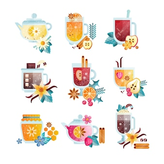 Vitamin healthy drinks in transparent cups and teapots illustrations on a white background
