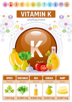 Vitamin k food infographic poster. healthy diet   supplement design