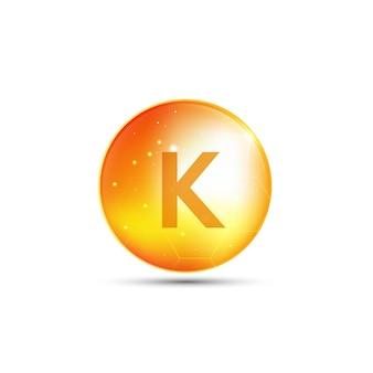 Витамин к, желтая капсула. желтый пузырь, реалистичный векторный дизайн