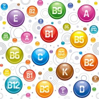 ビタミンミネラルの壁紙。マルチビタミンの複雑なアイコンのシームレスなパターン。