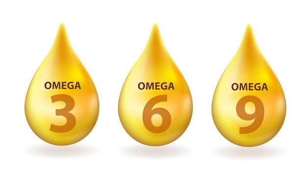 비타민 오메가 3, 6, 9 드롭 현실적인 3d 스타일. 건강한 생활