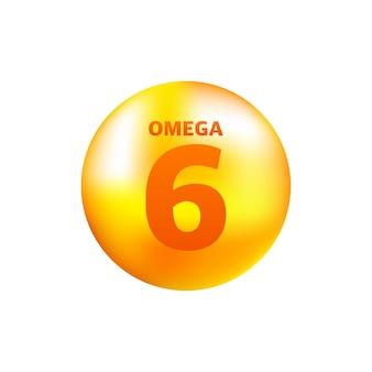 회색에 현실적인 방울이있는 비타민 오메가 6