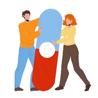 남자와 여자 커플 벡터를 들고 비타민 알 약입니다. 비타민 의료 약물은 어린 소년과 소녀를 함께 잡고 환자를 위한 의료 의약품입니다. 캐릭터 건강 플랫 만화 일러스트 레이션