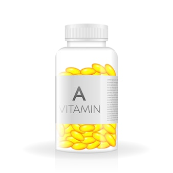 Vitamin realistic bottle in 3d style spray bottle icon white background isolated