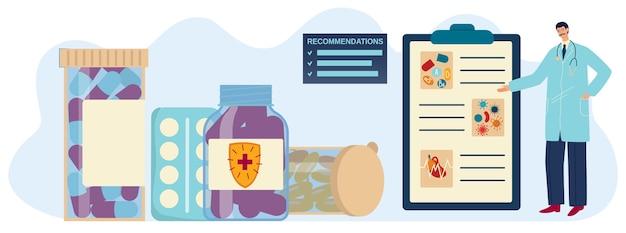 Иллюстрация рекомендации витамина, мультяшный плоский доктор фармацевт, рекомендующий таблетки витаминной добавки