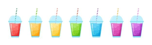 ビタミンスムージーカクテルサマーセットイラスト。ガラスのフレッシュジュースシェイクエネルギーカクテル、ビタミン飲料のテイクアウトまたはデトックスダイエットのためのレインボーカラーコレクション