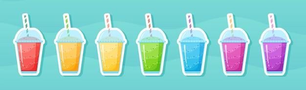 비타민 스무디 칵테일 여름 스티커 세트. 유리에 신선한 주스 흔들린 에너지 칵테일, 비타민 음료를위한 과일 컬렉션이있는 무지개 색상