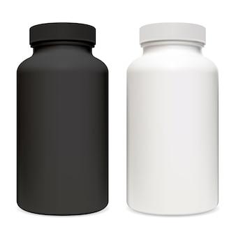 비타민 보충제 포장. 레이블 및 로고없이 흑인과 백인 플라스틱 알약 컨테이너 약국 태블릿 항아리 그림.