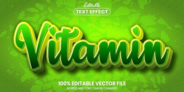 Vitamin text, font style editable text effectq