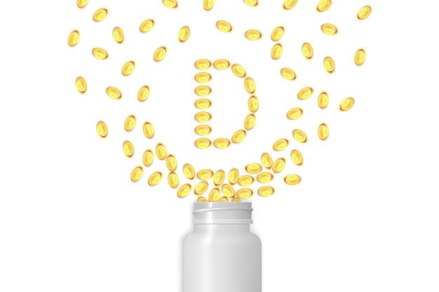 비타민 d 배경입니다. 젤 알약