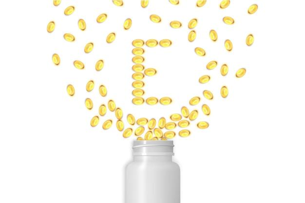 비타민 e 배경입니다. 젤 알약
