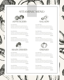 Vitaminicmenu-コピースペース付きの黒と白のベクトル手描き複合メニューテンプレート。リアルなブロッコリー、カボチャ、大根、タマネギ、トマト、ナス、ピーマン、キュウリ、ニンジン、エンドウ豆。