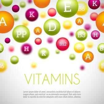 Фон витаминов и минералов. витаминный минерал, минерал и витамин для здоровья, витамины медицинской группы, природные минералы науки. векторная иллюстрация