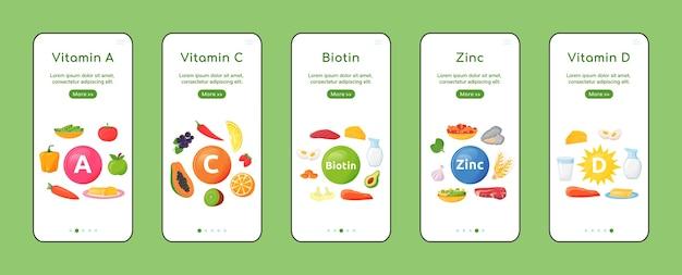 モバイルアプリの画面フラットテンプレートに搭載されているビタミンとミネラル。健康的な自然食。オブジェクトを使用したウォークスルーwebサイトの手順。 ux、ui、guiスマートフォン漫画インターフェース、ケースプリントセット