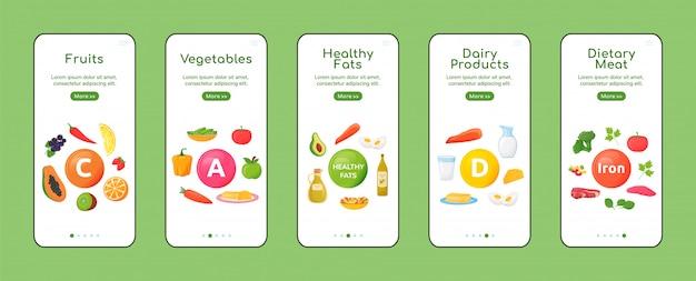비타민과 미네랄 온 보딩 모바일 앱 화면 평면 템플릿