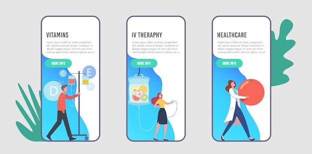Шаблон экрана мобильного приложения vitamins dripping, iv therapy. персонажи, применяющие натуральные питательные вещества для внутривенного вливания через капельницы в больнице. мультфильм люди векторные иллюстрации