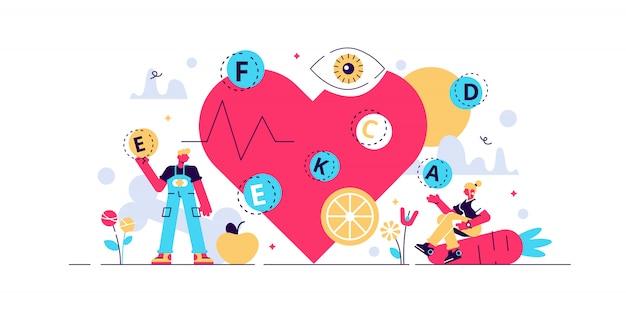 ビタミンのイラスト。小さな健康的なライフスタイルの人の概念。必須の化学元素全体に設定されたベジタリアンの栄養としての新鮮な有機食品。心臓と骨の強さのために生で食べる。