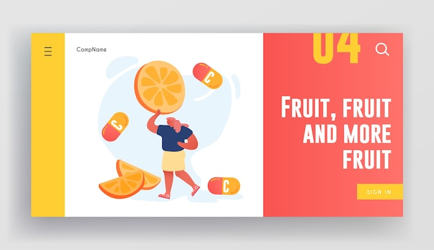 과일 및 감귤류 친환경 제품의 비타민 웹 사이트 방문 페이지.