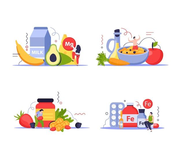 음식으로 설정된 제품 구성의 비타민