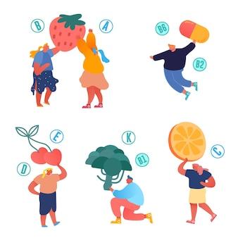 제품 개념의 비타민. 건강한 라이프 스타일, 유기농 식품 선택 인포 그래픽.