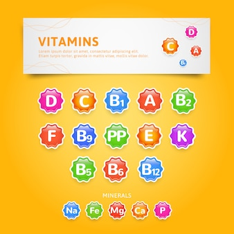 Vitamins and minerals icons or labels set