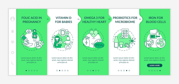 Vitamins and supplements onboarding vector template