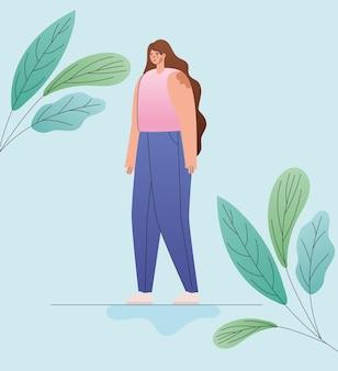 Мультфильм женщина витилиго с дизайном листьев, тема любви и заботы о себе