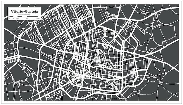 복고 스타일의 vitoria gasteiz 스페인 도시 지도. 개요 지도. 벡터 일러스트 레이 션.