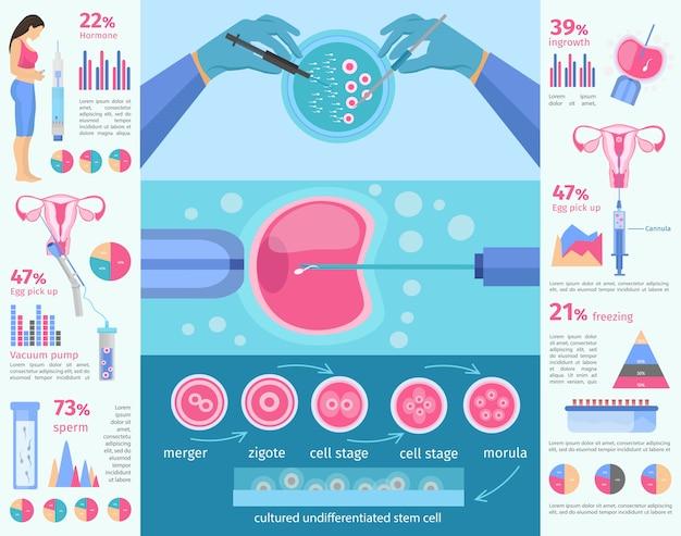 Modello di infografica piatto di fecondazione in vitro