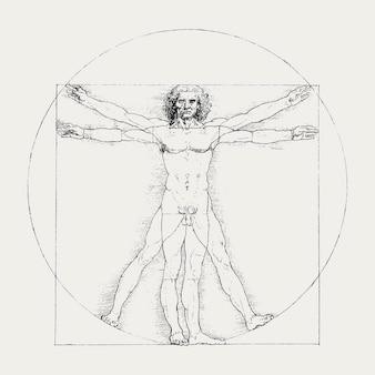 Vettore dell'uomo vitruviano, famoso disegno del corpo umano, remixato da opere d'arte di leonardo da vinci