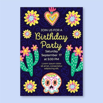 Viva mexico birthday invitation template
