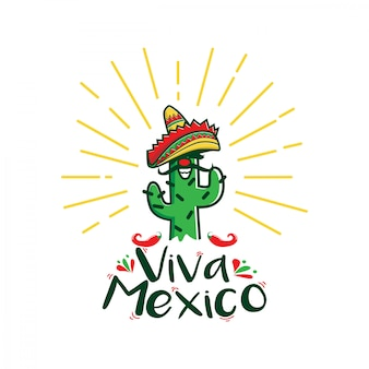 Viva mexico cartoon character logo