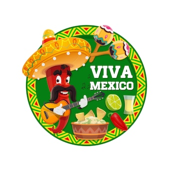 Viva mexico cartoon  of red chilli pepper character with mexican sombrero hat, guitar and maracas, fiesta party avocado guacamole, nachos, jalapeno and tequila with lime. greeting card