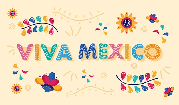 꽃 정원이있는 비바 멕시코 축하 기념일 레터링