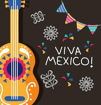 기타와 화환이있는 비바 멕시코 축하 기념일 레터링