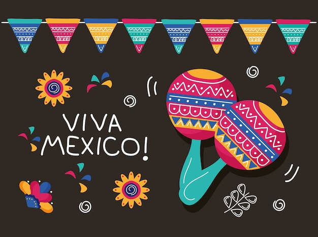마라카스와 화환이있는 비바 멕시코 축하 기념일 레터링