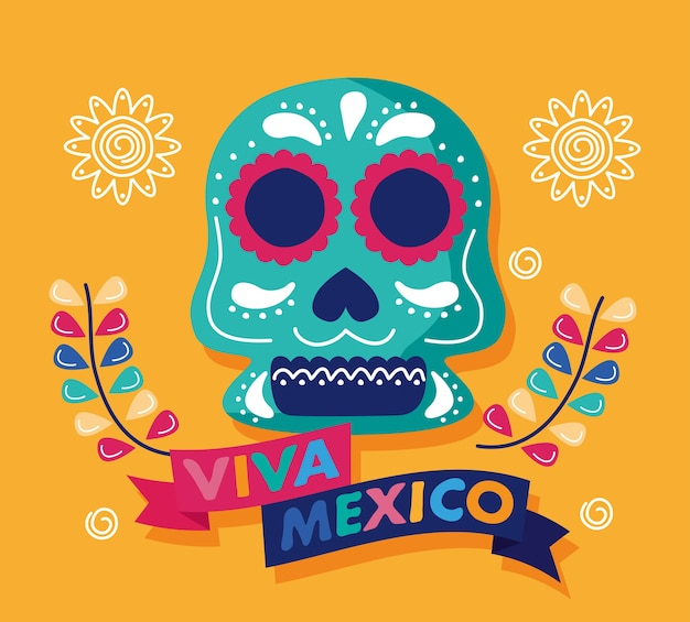 Viva mexico celebration day lettering with skull head and flowers