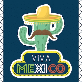 Viva mexico celebration with cactus and hat