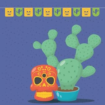 Празднование вива мексика с маской смерти и кактусом