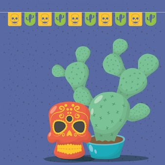 Viva mexico celebration with death mask and cactus