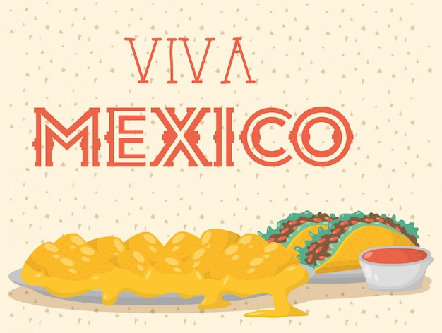 Viva mexico celebration with food and sauces