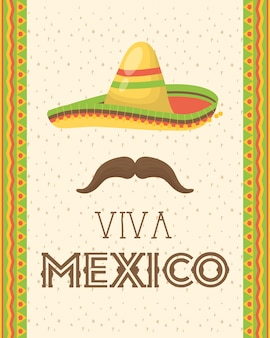 Viva mexico celebration with hat and mustache