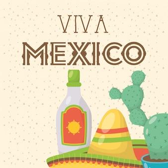 Празднование viva мексики с бутылкой текилы и шляпой
