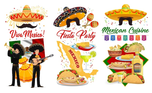 Viva mexico and cinco de mayo banners with mexican holiday fiesta party sombreros, maracas and guitars. mariachi, flag of mexico and tequila, tacos, burritos and guacamole, greeting card design Premium Vector
