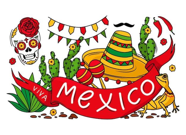 Красочный праздничный баннер viva mexico с сомбреро, черепом, ящерицей, кактусом, усами и гирляндой. векторные иллюстрации шаржа. объекты изолированы.