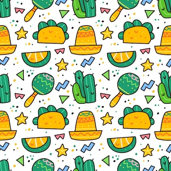 Viva mexico in doodle style seamless pattern