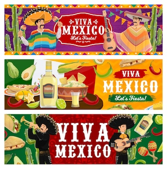 Viva mexico, fiesta party banners. mariachi musicians in sombrero and poncho playing music. mexican food jalapeno chili peppers, guacamole with nachos, tequila and lime. cinco de mayo festival Premium Vector