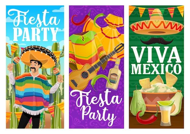 Баннеры вечеринки viva mexico fiesta с мексиканской праздничной едой и карнавальными мариачи.